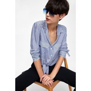 Zara Blue & White Striped Button Down Shirt